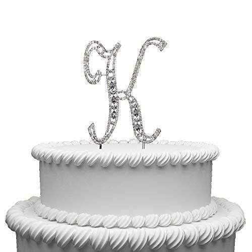 Hatcher lee Diamante Rhinestone Crystal Monogram Letter Alphabet Cake Toppers for Wedding Birthday Party Decoration 1pcs (K)