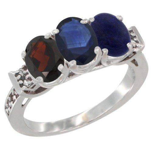 10K White Gold Natural Garnet, Blue Sapphire & Lapis Ring 3-Stone Oval 7x5 mm Diamond Accent, size 10 Blue Sapphire Lapis Ring