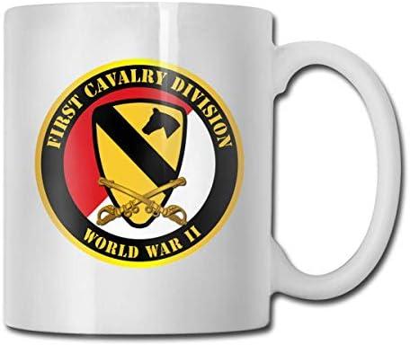 N\A 1. Kavallerie Div Rot Weiß Zweiter Weltkrieg Lustige Geschenkbecher Weißer Tee Brühe Tassen 11 Unzen
