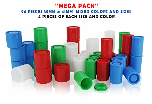 Homeio 35mm/41mm Film Canisters ''Multi-Color'' Empty Photo Storage Containers with Airtight Lids - Use for Photo Negatives, Science Experiments, Geocaching, Travel (96, 35mm/41mm) (Film Canister Case)