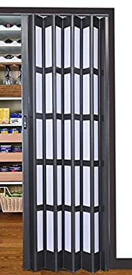 Flexi Space Expresso Matte Folding Door 32'' Wide Roraima Double-Ply with Flexible Vinyl Hinge, Magnetic Latch & Handle, with 5 Short Milky Glass Panel, 0.23'' Thick