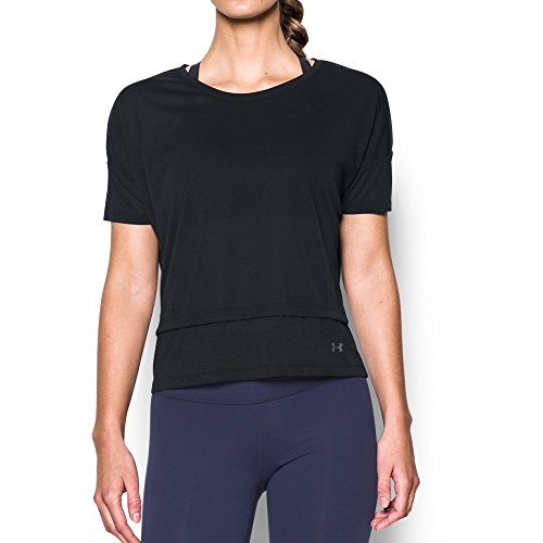 - Under Armour Women's Tech Slub Layered Short Sleeve,Black (002)/Graphite, X-Small