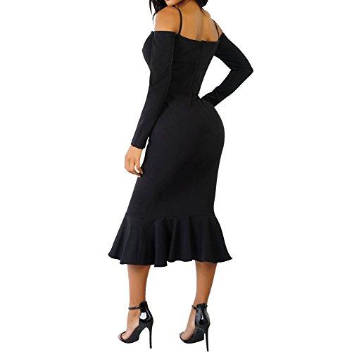 Bodycon4u Femmes Au Large De La Chemise À Manches Longues Ourlet Volants Épaule Sirène Robe Midi Noir