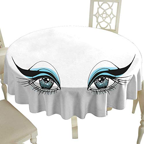 Striped Round Tablecloth 36 Inch Eye,Expressive Look of a Woman Without Eyebrows Artistic Blue and Black Make Up,Pale Blue Black White Great for Traveling & More