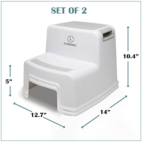 (2 Pack) Dual Height Step Stool for Toddlers & Kids, Nursery Step Stool Potty Training Stool for Bathroom, Kitchen, Two-Step Design with Soft No-Slip Grips and Safe, White & Grey, by Luxenno by LUXENNO (Image #6)