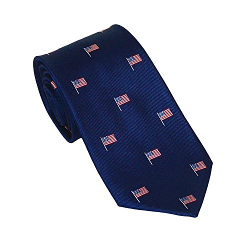 SummerTies American Flag Necktie - Navy, Woven Silk, Kids Length