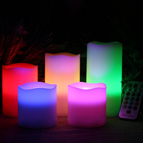 LED Lytes Flameless Candles Multicolor - Large Set of 5 Round Ivory Wax with Flickering Rotating Color Flame, auto-off Timer Remote Control For Weddings and Gifts by LED Lytes (Image #1)