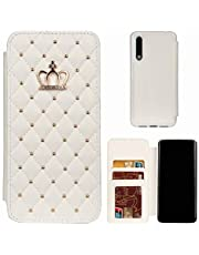 Miagon Diamond Wallet Cover for Samsung Galaxy A50,Noble Crown Rivet Design PU Leather Flip Phone Case Cover with Kickstand Function Card Slots,White