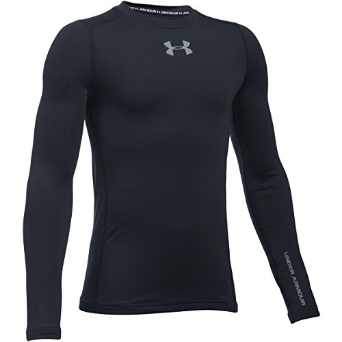 Under Armour Boys ColdGear Evo Fitted Long Sleeve Crew Tee, Black /Steel, Youth Large