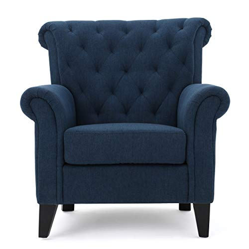 Christopher Knight Home 299864 Alpha Dark Blue Fabric Tufted Chair, Dimensions: 37.00