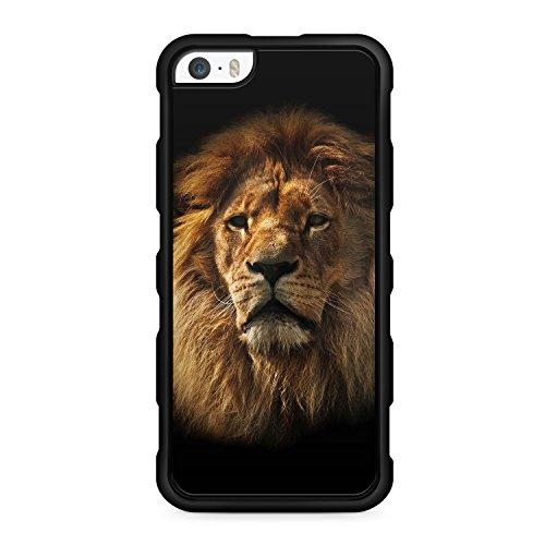 Löwe Lion Foto - für iPhone SE / iPhone 5 / iPhone 5S - SILIKON TPU Hülle - SCHWARZ - Cover Case Schale Design Muster Liebe Tier König