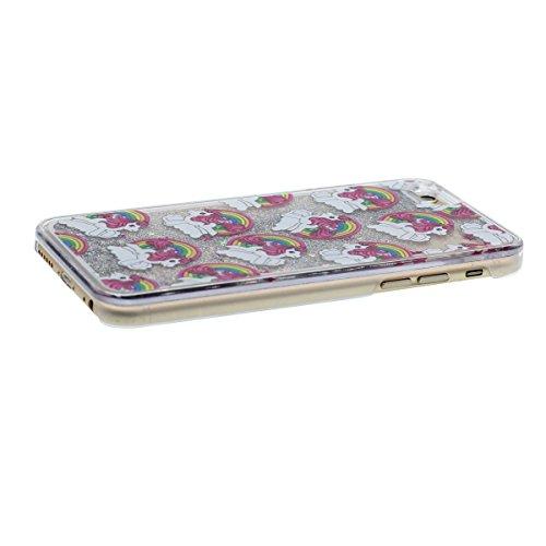 """iPhone 6S étui, Original Désign Écoulement ÉPoudre - Mignon Arc en Ciel Cheval Motif - Haute Clair Transparent Dur PC Liquide Eau Style Coque de Protection Case Anti Choc pour Apple iPhone 6 6S 4.7"""""""