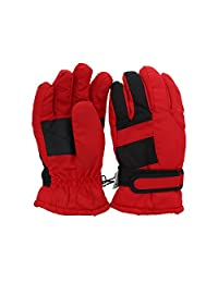 Waterproof Stripe Ski Gloves for Youth - Red
