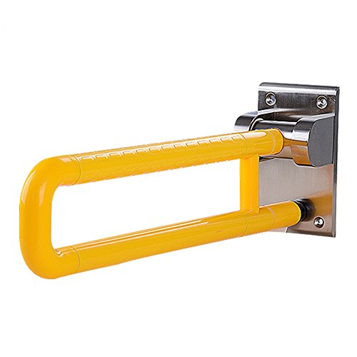 Yellow Handrails - LUOER Safety Rail Can Be Folded Up For Bathroom Safety, Toilet Assist, And Grab Bar Frame W/Grab Bars & Railings For Elderly, Senior, Handicap & Disabled - Padded Handrails,Yellow