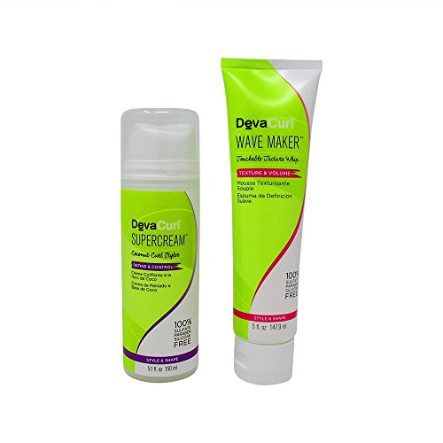 Bundle-2 Items : Deva Curl Supercream Coconut Curl Styler Cream, 5.1 Oz & DevaCurl Wave Maker Touchable Texture Whip, 5 Oz