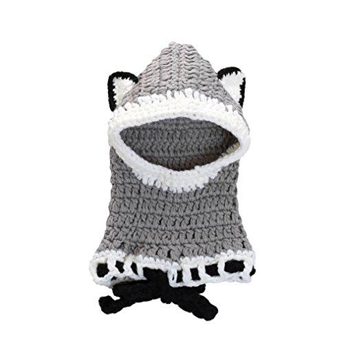 Chezi Kid's Cute Fox Animal Warm Thick Yarn Knit Crochet Cap Hat Beanies (grey-small)