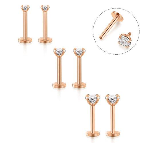 Triple Ring Earrings - Fectas 16G Cartilage Earring Stud Forward Helix Earrings Internal Threaded Labret Lip Medusa Monroe Piercing Ring Rose Gold 2 Pairs