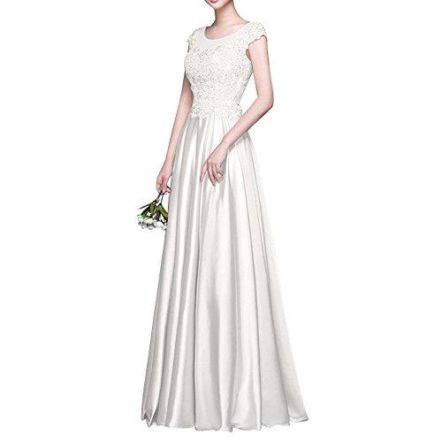 2018 Elfenbein mia Promkleider Partykleider Abschlussballkleider Lang Spitze Brautmutterkleider Abendkleider Brau Kurzarm La qHxwxZF