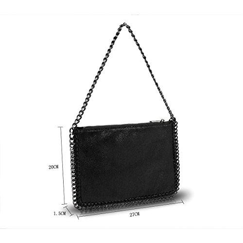 Metallic GN60624 Stella Handbag Women's Shoulder Edge Bag Designer Chain Ladies Black nwx1qfUYRU