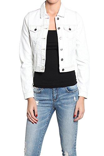TheMogan Women's Rinced Indigo & White Denim Jean Jacket - White - Large