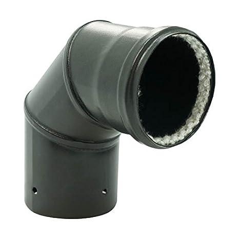 Codo escuadra 90 ° esmalte mate negro diámetro 80 mm para estufas de pellets + Junta Fibra - 342429: Amazon.es: Hogar