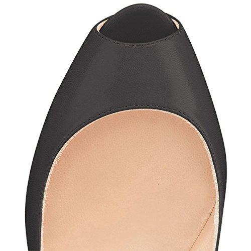 Sky Women Metal Stilettos Platform pu Black YDN Toe Shoes Pumps High Straps Ankle Heels Peep PdWxq7tx