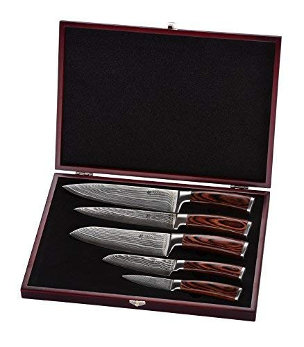 Wakoli Damastmesser Profi Messerset mit Holzbox, VG-10, 33,5 cm bis 19,5 cm, sehr hochwertiges Damast Messer, Japanische Damaszener Küchenmesser mit Ahornholz Griffen