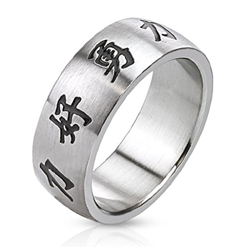 Chinese Characters Laser Etched Stainless Steel Ring -