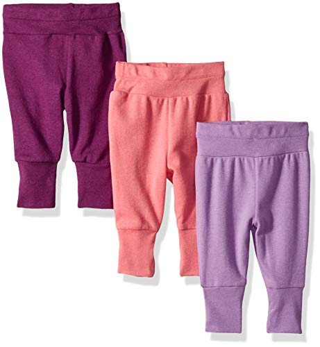 Hanes Ultimate Baby Flexy 3 Pack Adjustable Fit Knit Jogger Pants, Purple/Pink 0-6 Months