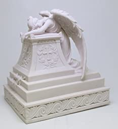 Moaning Angel Guardian Urn Surrounding with Cross. Holy Christianity Cremation Urn Box. Funeral Supply