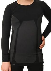 Gomati Kinder Funktions-Langarmhemd Seamless schwarz/grau-134-140 (XS)