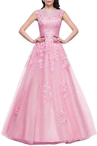 Abschlussballk 175 Rosa Abendkleider Lang AbiBallKleider Spitze Prinzessin Ballkleider 6qw8wI4TB