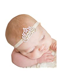 Bessky® Nice Princess Baby Girl Crystal Pearl Crown Hairband Children's Crystal Crown hair band hairband Headwrap (C)