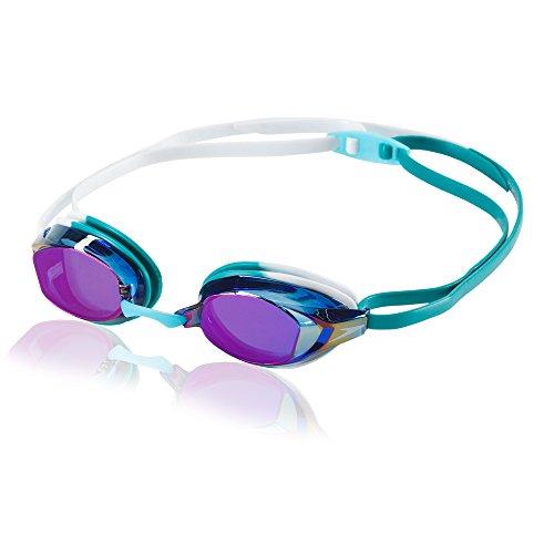 Speedo Vanquisher EV Mirrored Swim Goggles, Panoramic, Anti-Glare, Anti-Fog with UV Protection, Teal, 1SZ
