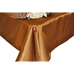 "Wedding Linens Inc. 90"" x 156"" Rectangular Seamless satin tablecloths Table Cover Linens for Restaurant Kitchen Dining Wedding Party Banquet Events - Copper"