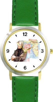 Price comparison product image Andrew Jackson (Old Hickory) - 7th US President - WATCHBUDDY DELUXE TWO-TONE THEME WATCH - Arabic Numbers - Green Leather Strap-Size-Children's Size-Small ( Boy's Size & Girl's Size )