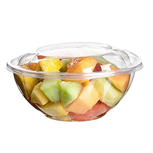 24 Bowl Large Ounce - Clear Plastic Bowl With Dome Lids for Salads Fruits Parfaits, 24oz, Disposable, Small Size [50 Pack]