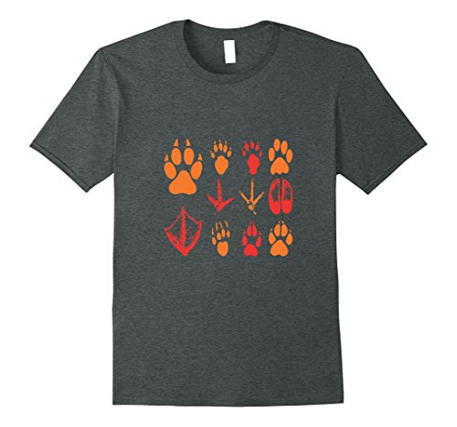 s - White Animal Tracks Paw Print T-Shirt XL Dark Heather (Animal Tracks T-shirt)