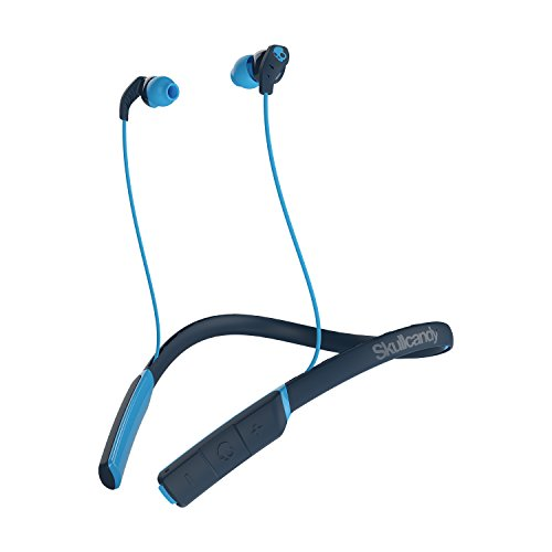 Skullcandy Method Bluetooth Wireless Sweat-Resistant Sport Earbuds with Microphone, Secure Around-The-Neck Collar, 9-Hour Rechargeable Battery, Perfect for Working Out, Navy/Blue