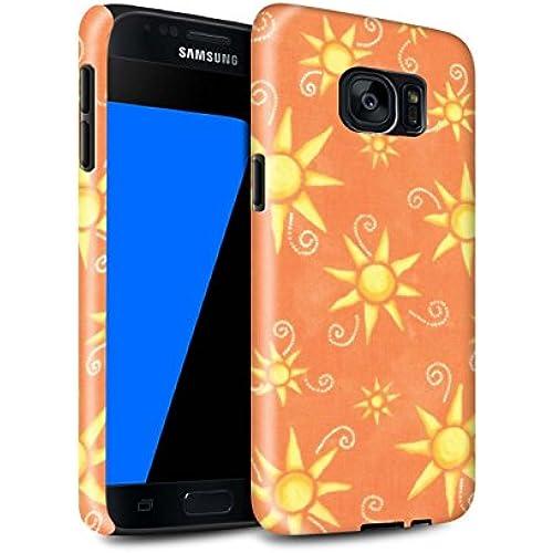 STUFF4 Gloss Tough Shock Proof Phone Case for Samsung Galaxy S7/G930 / Orange/Yellow Design / Sun/Sunshine Pattern Sales