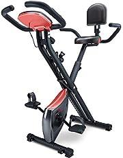 Sportstech X100-B/X150 X Bike 4in1 hometrainer met smartphone-app, uniek trekbandsysteem, handpulssensoren Ergometer, hometrainer, opvouwbare fitness-fiets-tablethouder, rugleuning, inklapbaar