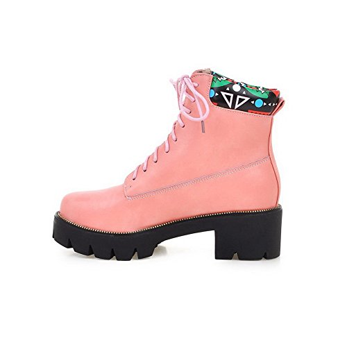 Round top Women's Allhqfashion Boots Low Toe up PU Heels Pink Closed Kitten Lace qvxxBft