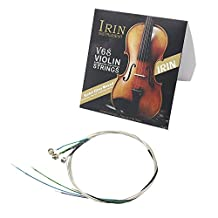 Andoer Universal Full Set (E-A-D-G) Violin Fiddle String Strings Steel Core Nickel-silver Wound with Nickel-plated Ball End for 4/4 3/4 1/2 1/4 Violins