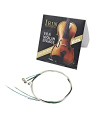 Andoer Violin Strings Full Set Violin Strings (E-A-D-G) Fiddle Strings Steel Core Nickel-silver Wound with Nickel-plated Ball End for 4/4 3/4 1/2 1/4 Violins