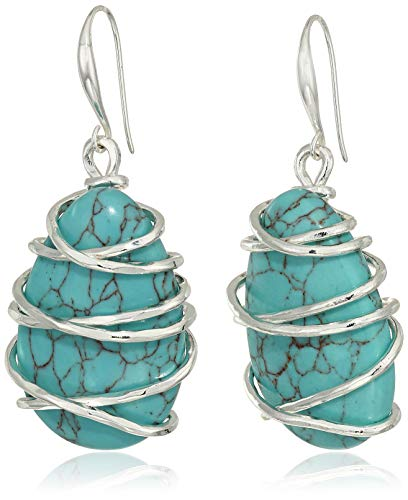 ho Women's Stone Wire Wrapped Drop Earrings, Turquoise, One Size ()