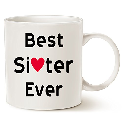 Christmas Gifts Mug for Sister, Best Sister Ever Cofee Mug Unique Christmas or Birthday Gifts Porcelain Cup White, 14 Oz by LaTazas