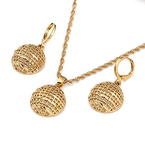 24k Gold Jewelry Set Necklace Earrings Pendant African Round Beads Jewelry Set
