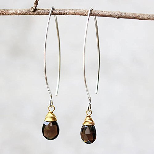 (Earrings,Teardrop faceted smoky quartz with brass wire wrapped on sterling silver marquise ear wires)