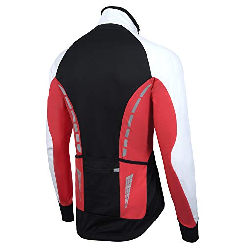Zimco Pro Men Winter Cycling Jackets High Viz Bicycle Jersey Windproof Thermal Insulated Jacket Small, Black-White-Red