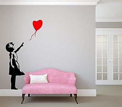 Ragazza con cuore Banksy arredamento elegante moderno adesivi camera ...